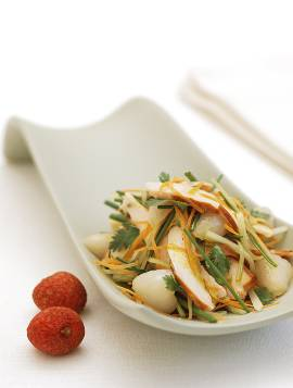 Smoked chicken and lychee salad