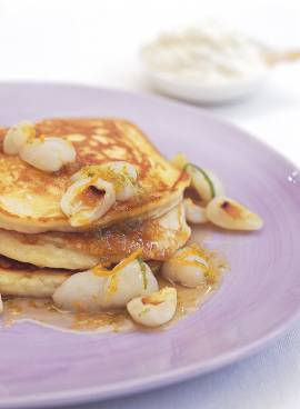 Ricotta pancakes with caramelised lychees